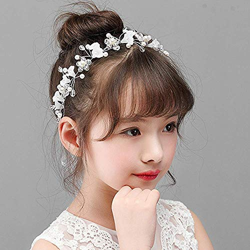 Campsis Cute Princess Wedding Headpiece White Flower Headband Pearl Wedding Hair Accessories for Girl and Women Bridal Wedding Tiaras for Flower Girl and Bridal. -