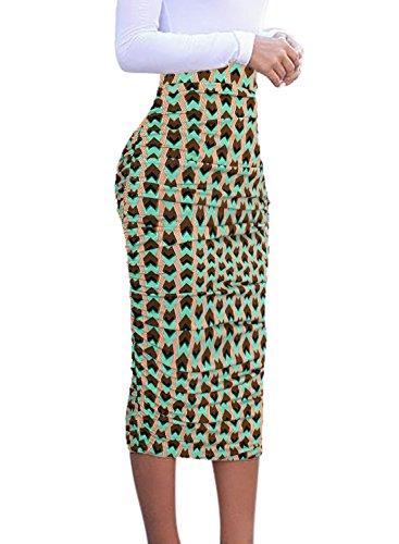 VfEmage Womens Elegant Ruched Frill Ruffle High Waist Pencil Mid-Calf Skirt 9110 MTC M
