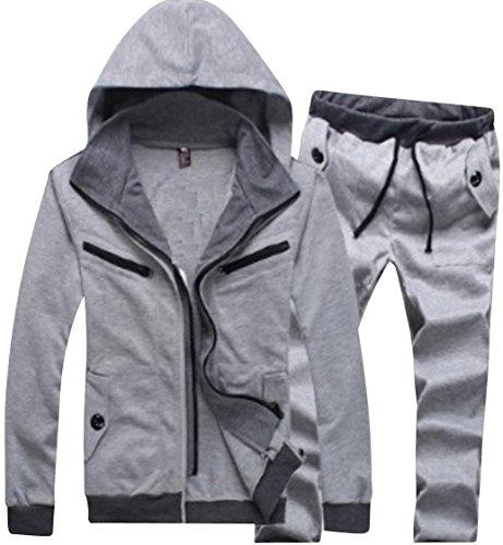 (アルファーフープ) α-HOOP メンズファッション 大きいサイズ も 無地 スウェット ジャージ パンツ と ジップアップパーカー フード付き 上下 セット アップ 部屋着 ルームウェア M ~ XXL PP-7