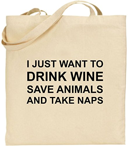 And Just Tote Shopping Take To Black Bag I Cotton Want Animals Wine Drink Naps Save 04qdwP