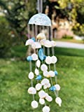PEPPERLONELY Seashell Wind Chimes made with White and Blue Shells & a Coconut Top, 18 Inch x 5 Inch