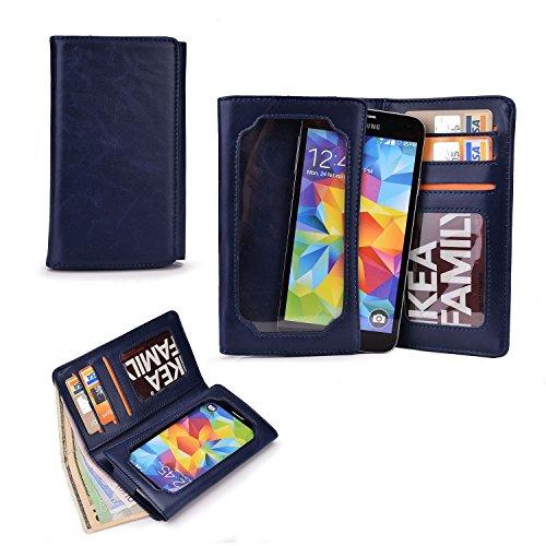Cooper Cases(TM) Infinite Pro HTC Desire 526 / 526G+ Dual Sim / 626 / 626s Smartphone Leather Wallet in Dark Blue (Universal Fit; Soft, Fine-Grain PU Leather; Card Slots; ID Holder; Billfold)