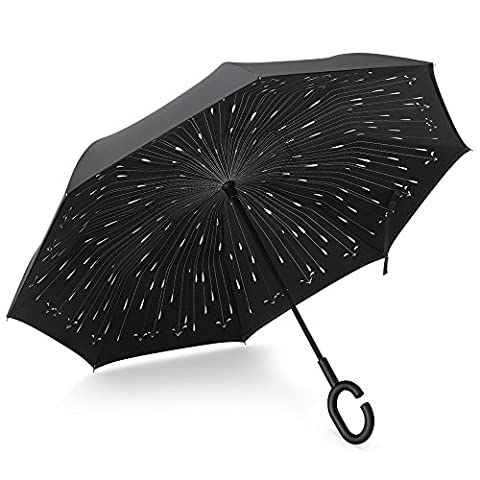 Plemo Double Layer Inverted Umbrella, Windproof Reverse Umbrella for Outdoor UV Protection or for Car (borse e valigie Borse)