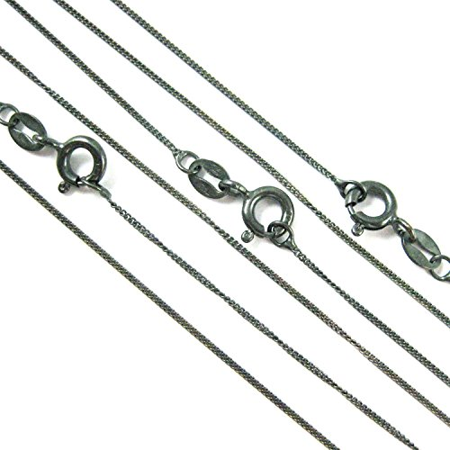 BeadUnion Sterling Silver Oxidized 1mm Tiny Curb Chain Necklace (16) (Oxidized Silver Curb Chain)