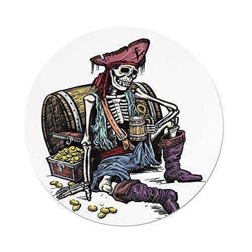 iPrint Polyester Round Tablecloth,Pirate,Skeleton Pirate Holding Mug Beer Treasure Chest Gold Freebooter Sailor Corsair Decorative,Multicolor,Dining Room Kitchen Picnic Table Cloth Cover Outdoor Indo