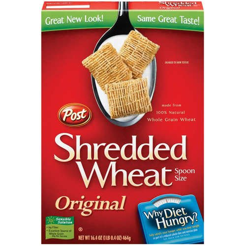 Post Shredded Wheat Original Spoon Size Cereal, 16.4 oz (Pack of 6)