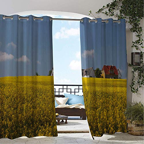 Linhomedecor Outdoor Waterproof Curtain Farmhouse Bornholm Denmark European Yellow Flower Field Landscape Pastoral Print Mustard Multicolor Porch Grommet Party Curtain 96 by 84 inch