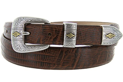 [Mesa Gold - Men's Italian Calfskin Designer Dress Golf Belt with Western Silver Plated Buckle Set (46 Lizard Brown)] (Calfskin Belt Strap)