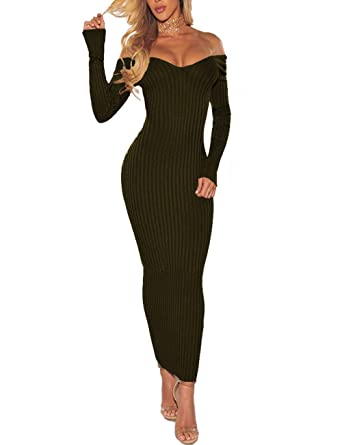 cd9656c9d12a Women s Sexy Dress Off Shoulder Long Sleeve Slim Elastic Ribbed Knit Club  Maxi Pullover Sweater