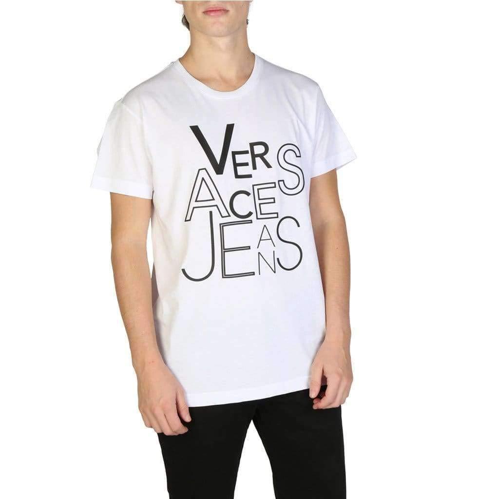 d74c7420 Versace Jeans Men's Short Sleeve t-Shirt Crew Neckline Jumper White:  Amazon.co.uk: Clothing