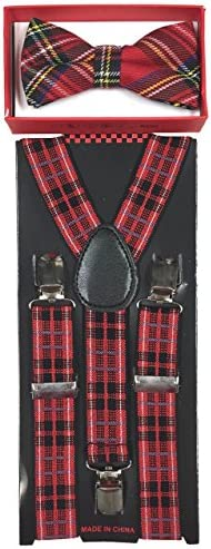 Toddler Kids Boys Girls Child Suspender Bow Tie (Black/Red Stripe)