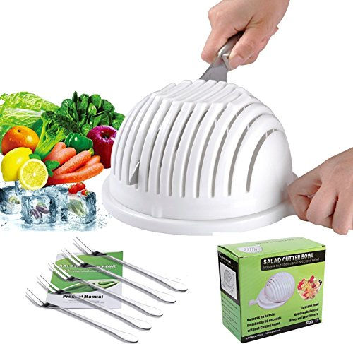 Salad Cutter Bowl - Best Salad maker, Vegetable chopper, Salad shooter, Cutter for Lettuce or Salad chopper for Salad in 60 Seconds with 5 PCS Stainless Steel Forks, White (Lettuce Serving Fork)