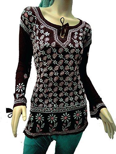 Jayayamala Rose handgemachte Damen der Frauen Boho romantische Geschenke schwarzen Kleid Baumwollbluse Tunika