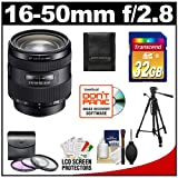 Sony Alpha 16-50mm f/2.8 DT ED Zoom Lens with 32GB SD Card + 3 UV/FLD/CPL Filters + Tripod + Accessory Kit for SLT-A37, A57, A58, A65, A77 Digital SLR Camera