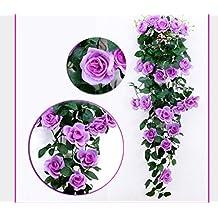 Get Orange 100cm Artificial Rose Silk Flower Green Leaf Vine Garland Home Wall Party Decor Garden Wedding Decoration (light purple)