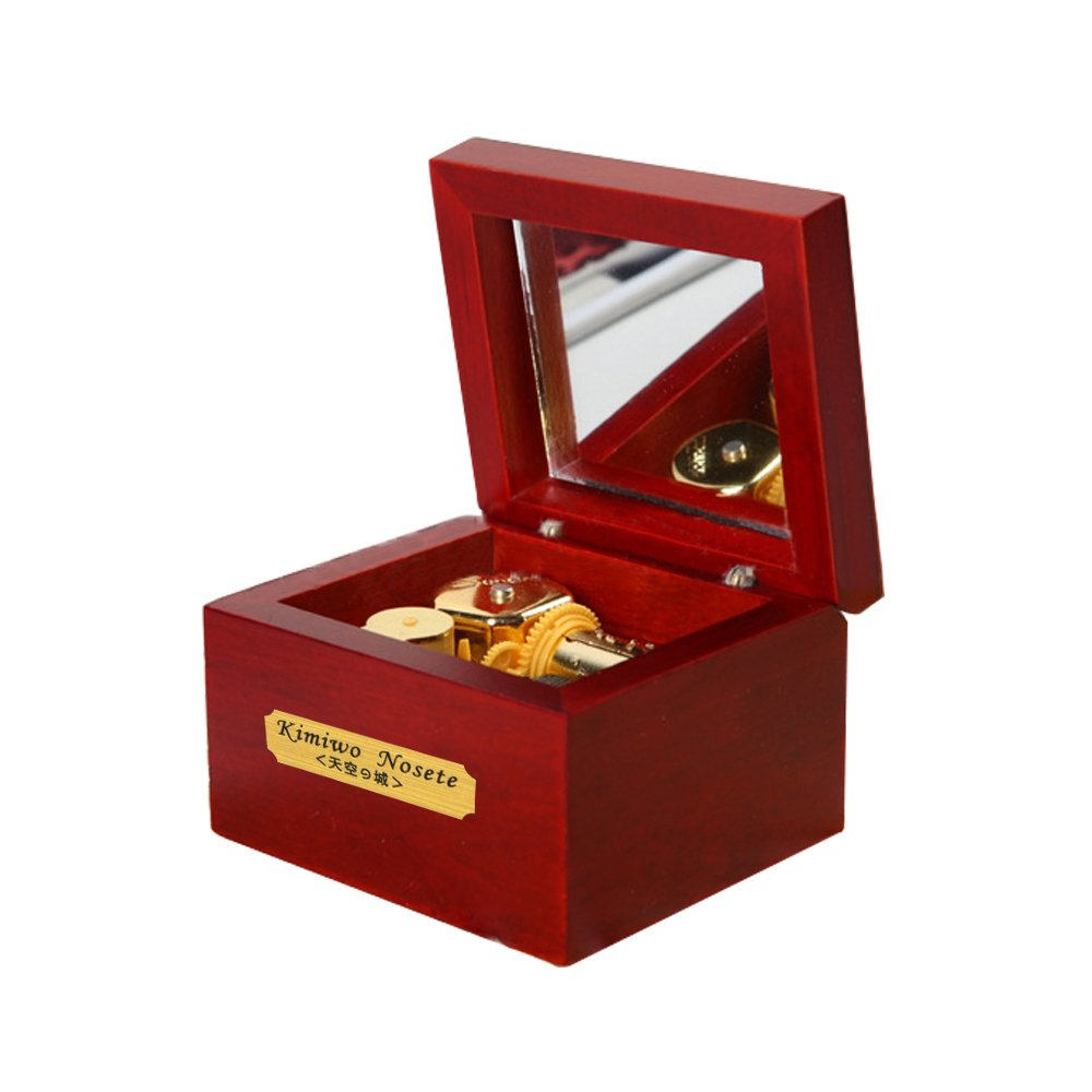Laxury 18 Note Wind-up Wooden Musical Box ,Gold Movement---different Color and Tune Available, Tune: Always with Me From the Spirited Away, Rosewood
