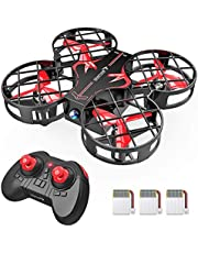 SNAPTAIN H823H Plus Mini Drone for Kids and Beginners, 2.4G Remote Control Quadcopter with 3 Rechargeable Batteries, Altitude Hold, Headless Mode, 3D Flips, One Key Return, Toys for Children, Red
