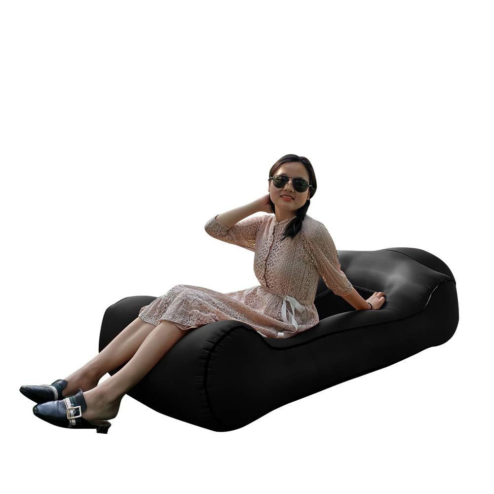 "Gerymu Inflatable Loungers Air Hammock Sofa Portable Inflatable Couches and Sofas Lounger Beach Chair Waterproof Air Couch with Mesh (75×33×18"")(Black) by Gerymu"
