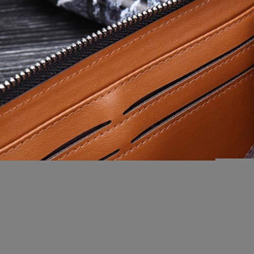 Cuoio Borsa SX Libretto da Propria Borsa Vero E Mens Business E Frizione Zip Vera Wristlet di Proprio in Vera Pelle Polso Portafoglio Lungo Assegni Borsa Frizione Pelle rr6qOxZ