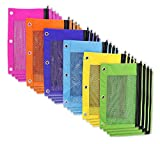 Office Products : BAZIC Bright Color 3-Ring Pencil Pouch w/ Mesh Window - 24 Pack