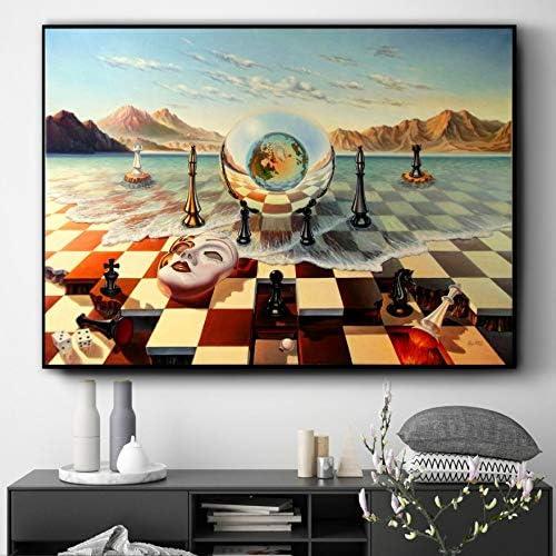 60 cm NOVELOVE Wandkunst Bild Surrealismus Malerei Schach Poster HD Print Leinwand Malerei Geschenk Ohne Rahmen 42