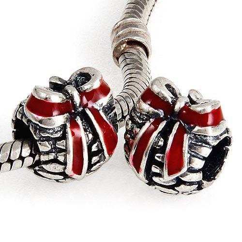 Perle Charm Pomme de pin–avec ruban rouge en émail–en argent sterling 925Argent Nouveau–Compatible avec Pandora, Chamilia européenne Charme Bracelet