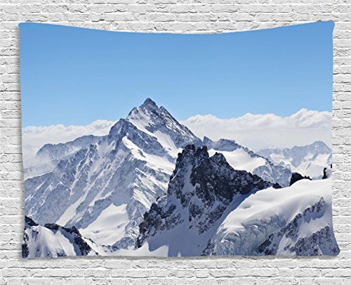 Ambesonne Winter Tapestry, Snowy Rocky Mountain Peaks Tops Scene High Lands ICY Frozen Swiss Outdoor Art, Wall Hanging for Bedroom Living Room Dorm, 60 W X 40 L Inches, White Blue ()