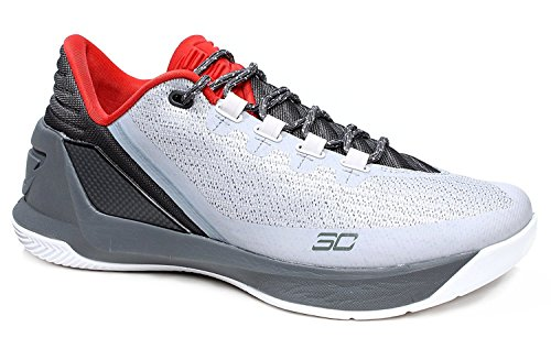 Zapatillas de deporte de baloncesto UA Curry 3 Low para hombre 1286376 Sneakers Shoes (US 10, gris gris¨¢ceo de color rojo 289)