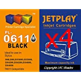 4 x Black (T0611) - JETPLAY maximum High Capacity Compatible Ink Cartridge for Epson Stylus D68 D88 DX3800 DX3850 DX4200 DX4800 DX4850 Printers