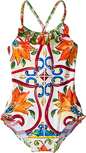 Dolce & Gabbana Kids Baby Girl's Swimsuit One-Piece (Infant) Maiolica Print 3-6 by Dolce & Gabbana