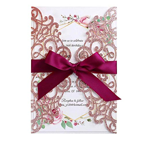 Hosmsua 20x Laser Cut Lace Rose Drill Wedding Invitation Cards with Burgundy Ribbon and Envelopes for Bridal Shower Engagement Birthday Graduation Party (Rose Gold ()