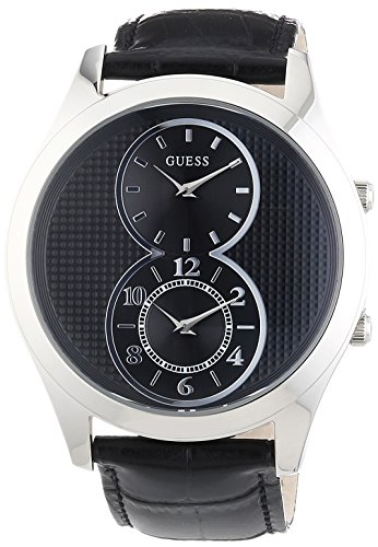 Guess W0376G1 46mm Stainless Steel Case Black Calfskin Mineral Men's Watch