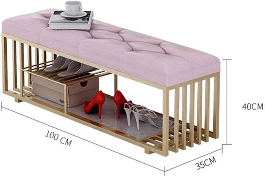 TnSok Cómoda Otomana De Almacenamiento De Calzado Banco Reposapiés Rack con Asiento Acolchado Organizador Pasillo Dormitorio Salón Muebles (Color : Rosado, tamaño : 100x35x40CM): Amazon.es: Hogar