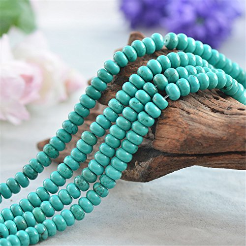 Natural Green Turquoise Beads 3.5x6mm/4x8mm Abacus Shape 15 Inch Strand TQ21