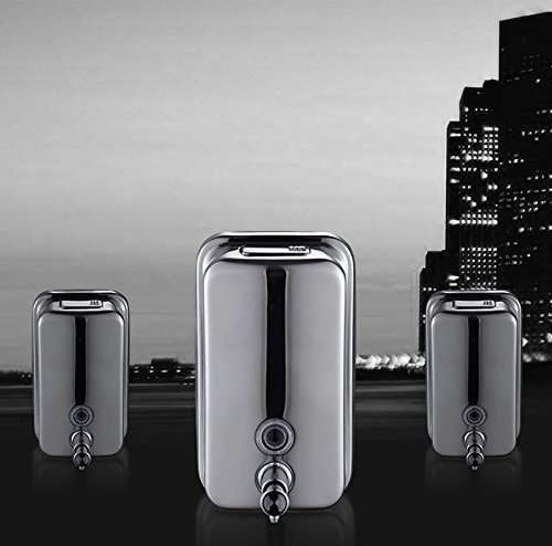 Kitchen Sink Accessories Soap dispenser stainless steel soap dispenser free punching Bathroom wall hanging shampoo bath box (Color : Silver)