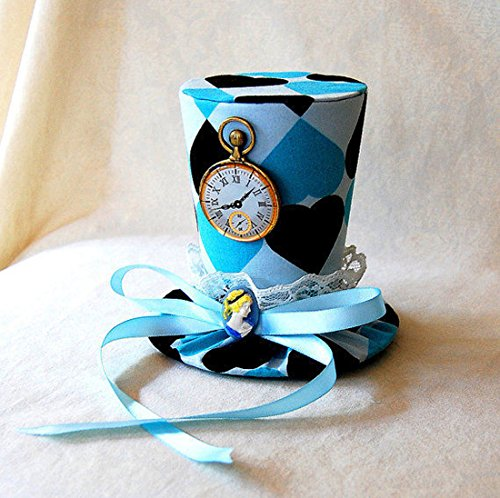 Hand-Made Alice in Wonderland Hearts Mini Top Hat with a one-Size-fits-All Elastic Headband Worn Behind The Head ()