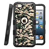 iPod touch 5th / 6th Case, CASECREATOR[TM] For Apple iPod touch 5th / 6th generation () -- NATURAL TUFF Hybrid Rubber Hard Snap-on Case Black Black-Weapons Camo Pattern