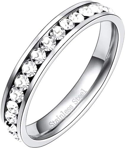 Stainless Steel 2mm x 2mm Princess Cut CZ Womens Wedding Band SZ 5-10