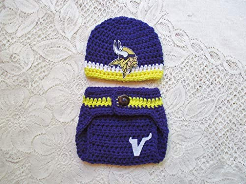Minnesota Vikings Crochet Football Hat and Diaper Cover Set - Baby Photo Prop - Baby Shower Gift - Available in 0 to 24 Months]()