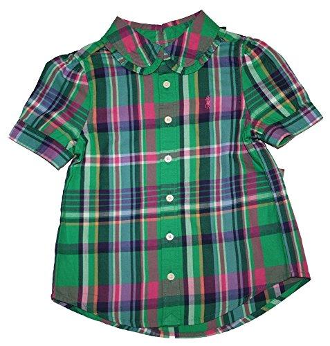 Ralph Lauren Girls Plaid Madras Peter Pan Collar Top Shirt (6X, Green Multi)