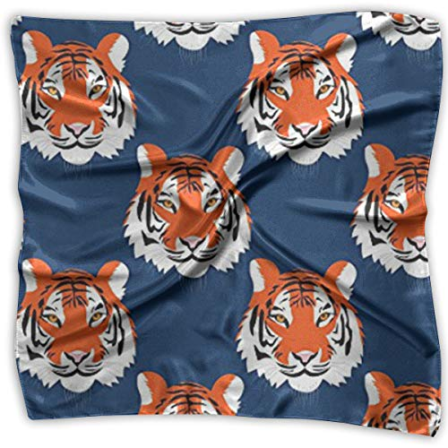 Women's Accessories Scarves & Shawl & Square - Business Silk Scarves Jungle Tigers In Auburn Colors Graphic Print Neckerchief Female Satin Hair Scarf Wrap Headscarf ()