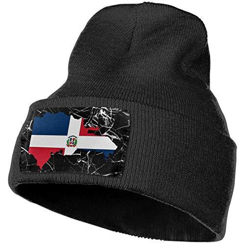 Boys and Girls Beanie Hat Dominican Republic Map Flag Classic Cuffed Plain Skull Knit Hat Cap Sports Fan Watch Cap Black