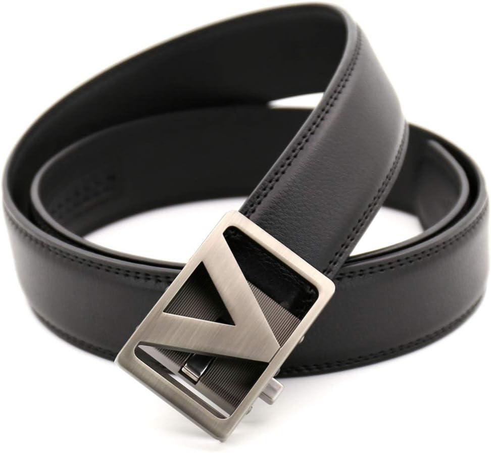 DENGDAI V-Word Mens Belt Leather Belt Male Belt Length 110-130cm