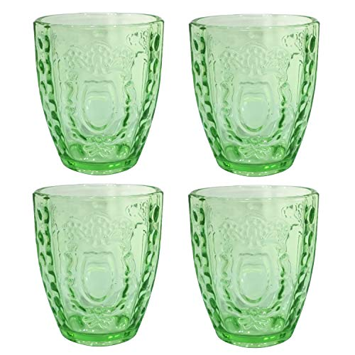 Glassware Drinking Glasses Set of 4 - Embossed Drinkware Vintage Inspired Pressed Glass Tumblers Old Fashioned Glasses(Grassy Green)