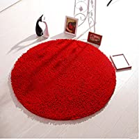 Ustide Comfortable Rug Shaggy Chenille Rug Round Non-Slip Absorbent Floor Mat Chair/Bathroom/Bedroom Rug Dark Red