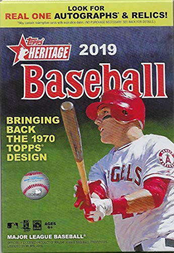2019 Topps Heritage MLB Baseball Series Factory Sealed Unopened Hanger Box that contains 35 cards based upon Topps' classic 1970 design