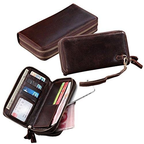 Yilen Top Grain Cowhide Genuine Leather Wallet Luxury Clutch Double Zipper around Wallet Handbag Pockets Money Purse / Mobile Phone Pouch Case Bag for iPhone 6 Plus 5.5 inch /iPhone 6 4.7inch (Coffee)