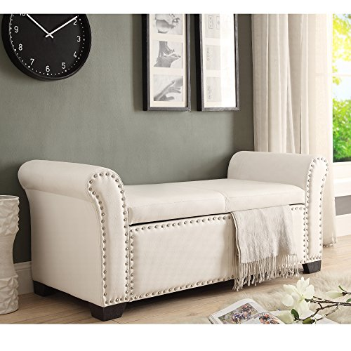 Inspired Home Noah PU Leather Modern Contemporary Nail Head Trim Storage Ottoman Bench, Ivory