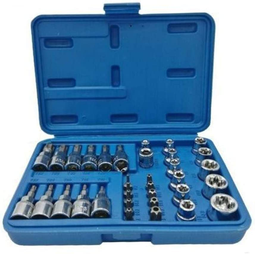 E8 T15 Star Socket Bit Set E6 E5 E18// E20//T10 E10 34Pcs//Set Male Female Torx Sockets E /& T Socket Bits Set for Torx//Star//E Bits Tools and Bits Holder E4 E16 E12 E7 E11 E14