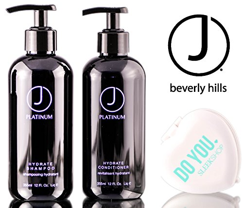 J Beverly Hills Platinum HYDRATE Shampoo & Conditioner DUO Set (with Sleek Compact Mirror) (12 oz / 355 ml - retail DUO kit)